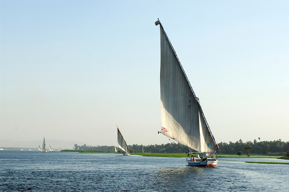 Felucca on the Nile River, Sail Boats, Luxor, Egypt