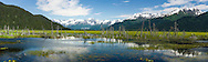 Composite panorama of Chugach Mountains along Turnagain Arm in Southcentral Alaska. Spring. Afternoon.