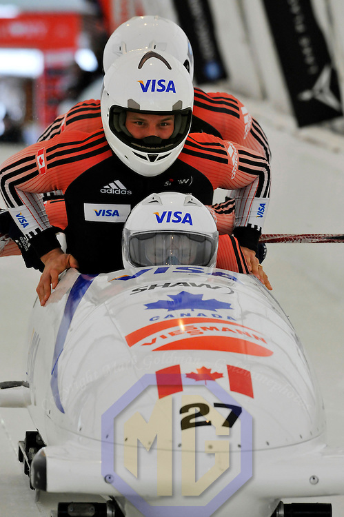 16 December 2007:  The Russia 3 four-man bobsled by Dmitry Abramovitch with Dmitri Elyutin, Alexander Ushakov and brakeman Sergey Prudnikov compete at the FIBT World Cup 4-Man bobsled competition on December 16, 2007 at the Olympic Sports Complex in Lake Placid, NY.  The Russia 2 sled driven by Alexandr Zubkov won the race with a time of 1:48.79.