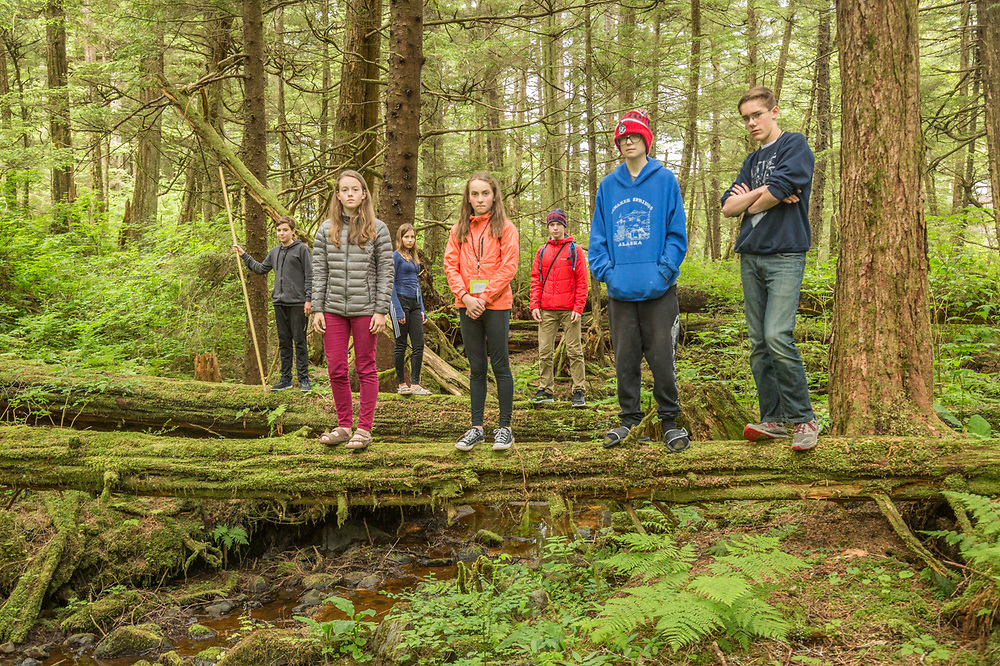 Digital photography students photograph  the wilderness of Sitka Historic National Park while attending  the Sitka Fine Arts Camp, Sitka, Alaska