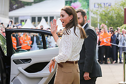 "© Licensed to London News Pictures. 20/05/2019. London, UK. Duchess of Cambridge departed after visiting her 'Back to Nature' garden at the Chelsea Flower Show. The  'Back to Nature' garden is designed along with the Royal Horticultural Society and landscape architects Davies White which includes a swing seat, hanging below the garden's centrepiece, a high platform tree house as well as ""incredible edibles, plants for craft activities, forest scents and a diverse range of plants, shrubs and trees of different heights and textures,""<br /> The Royal Horticultural Society Chelsea Flower Show is an annual garden show held over five days in the grounds of the Royal Hospital Chelsea in West London. The show is open to the public from 21 May until 25 May 2019. Photo credit: Dinendra Haria/LNP"