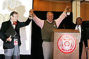 Ohio Governor Ted Strickland, center with OSU's President E. Gordon Gee, left, and OU's President Dr. McDavis at the pre-football game brunch at Drake Center at Ohio State University  Saturday September 6, 2008. In attendance included, alumni, the OSU President E. Gordon Gee, OU President Dr. Roderick McDavis, Vern Alden, Ohio Governor Ted Strickland  and U.S. Senator George Voinovich (R-OH).  (Christina Paolucci)