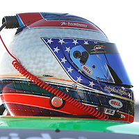 Danica Patrick's helmet rests atop her car after practice at Daytona International Speedway on February 18, 2011 in Daytona Beach, Florida. (AP Photo/Alex Menendez)