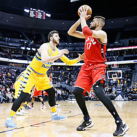 18 November 2016: Denver Nuggets center Jusuf Nurkic (23) defends on Toronto Raptors center Jonas Valanciunas (17) during the Toronto Raptors 113-111 OT victory over the Denver Nuggets, at the Pepsi Center, Denver, Colorado, USA.