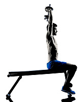 one caucasian man exercising fitness weights Bench Press exercises in studio silhouette isolated on white background