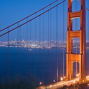 Golden Gate Bridge at night from Golden Gate park. San Francisco, CA. USA.