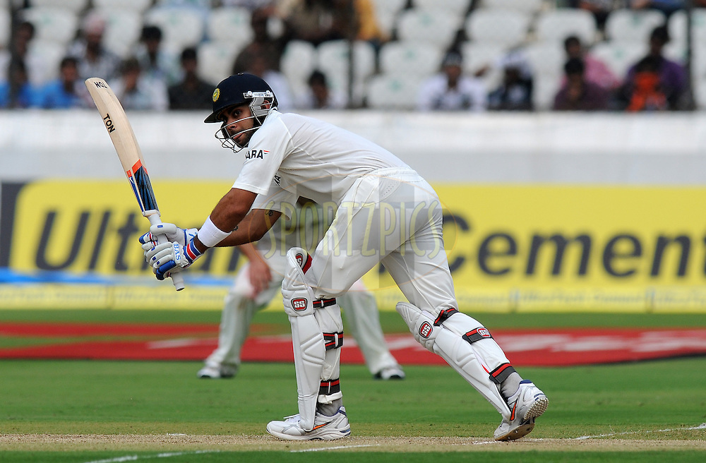 Virat Kholi of India bats during day one of the first test match between India and New Zealand held at The Rajiv Gandhi International Stadium in Hyderabad, India on the 23rd August 2012..Photo by: Pal Pillai/BCCI/SPORTZPICS