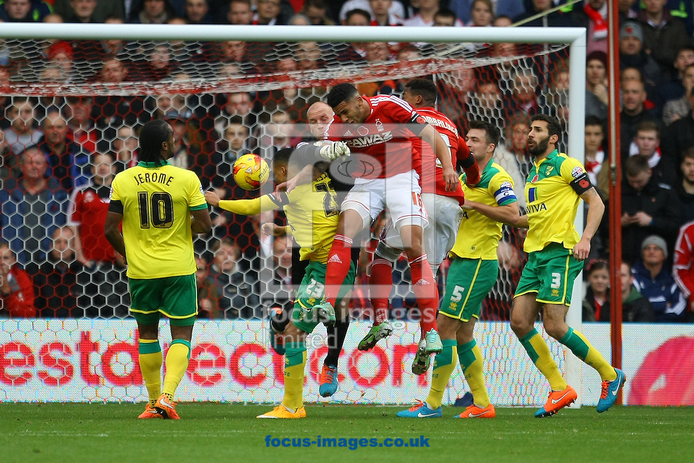 Jamaal Lascelles of Nottingham Forest heads for goal during the Sky Bet Championship match at the City Ground, Nottingham<br /> Picture by Paul Chesterton/Focus Images Ltd +44 7904 640267<br /> 08/11/2014