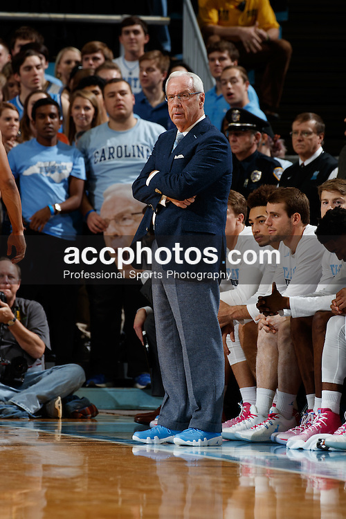 CHAPEL HILL, NC - JANUARY 26: Head coach Roy Williams of the North Carolina Tar Heels coaches against the Virginia Tech Hokies on January 26, 2017 at the Dean Smith Center in Chapel Hill, North Carolina. North Carolina won 91-72. (Photo by Peyton Williams/UNC/Getty Images) *** Local Caption *** Roy Williams