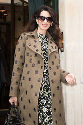 George and his pregnant wife Amal Clooney leaving their hotel L'HOTEL to Gare du Nord station in Paris, France, on February 26, 2017. Photo by Nasser Berzane/ABACAPRESS.COM