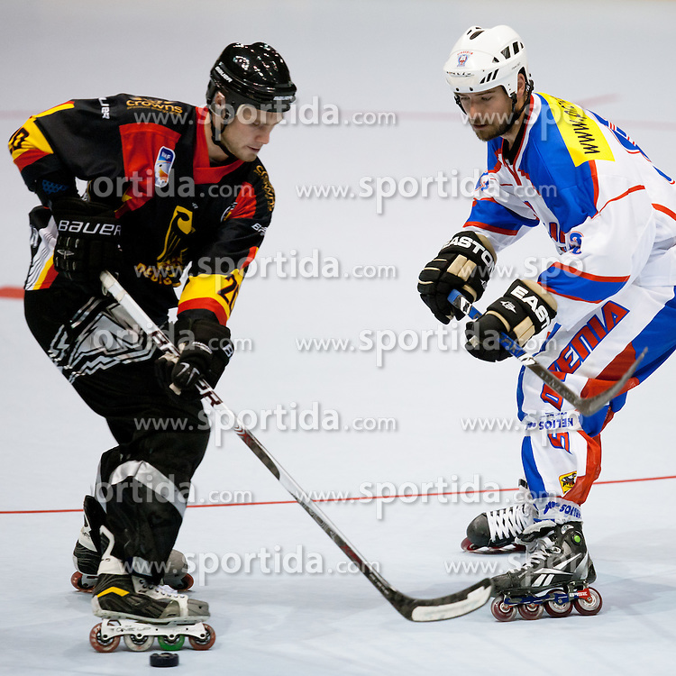 SEIFERT Patrick of Germany vs KRALJ Matic of Slovenia at IIHF In-Line Hockey World Championships 2011 Top Division placement round match game 17 between National teams of Slovenia and Germany on June 24, 2011, in Pardubice, Czech Republic. (Photo by Matic Klansek Velej / Sportida)