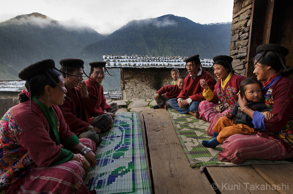 Villagers gather and sing traditional folk songs at Merak village in eastern Bhutan on Sep 10, 2015. The custom remains in only few villages in Bhutan.<br /> (Photo by Kuni Takahashi)
