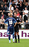 Photo: Mark Stephenson.<br /> Hereford United v Brentford. Coca Cola League 2. 06/10/2007.Brentford's Alan Connell is booked by the referee D Deadman