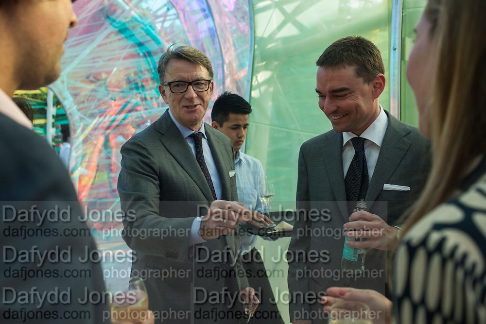LORD PETER MANDELSON; Reinaldo Avila da Silva, Serpentine's Summer party co-hosted with Christopher Kane. 15th Serpentine Pavilion designed by Spanish architects Selgascano. Kensington Gardens. London. 2 July 2015.