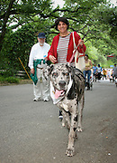 "Rorschach leads his ""mom and dad"" through Alamo Heights during the 9th Annual Pooch Parade, April 29, 2007.  Photo copyright 2007 Lance Cheung"
