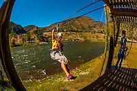 Ziplining over the Colorado River, Glenwood Canyon zipline adventures, Glenwood Springs, Colorado USA
