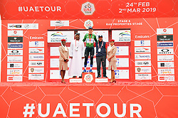 March 1, 2019 - Emirati Arabi Uniti - Foto LaPresse - Massimo Paolone.1 Marzo 2019 Emirati Arabi Uniti.Sport Ciclismo.UAE Tour 2019 - Tappa 6 - da Ajman a Jebel Jais - 180 km.Nella foto: Stepan Kuriyanov (Gazprom - RusVelo) durante la premiazione..Photo LaPresse - Massimo Paolone.March 1, 2019 United Arab Emirates.Sport Cycling.UAE Tour 2019 - Stage 6 - Ajman to Jebel Jais - 111,8 miles.In the pic: Stepan Kuriyanov (Gazprom - RusVelo) during the award ceremony (Credit Image: © Massimo Paolone/Lapresse via ZUMA Press)