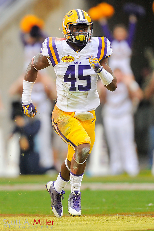 LSU Tigers  linebacker Deion Jones (45) during LSU's 21-14 win over the Iowa Hawkeyes in the 2014 Outback Bowl at Raymond James Stadium on Jan 1, 2014  in Tampa, Florida. ©2014 Scott A. Miller