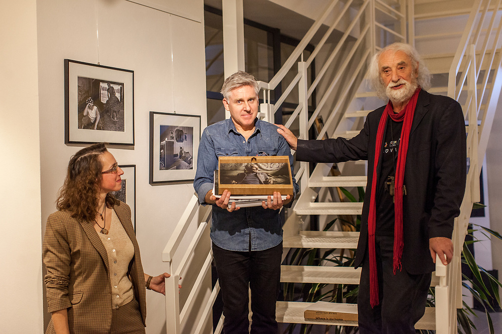 Prof. Mgr. Jindřich Štreit with his former student Gary Freeman (UK) during his exhibition opening in Lovosice, Czech Republic.