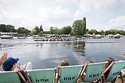 Henley on Thames, England, United Kingdom, 7th July 2019, Henley Royal Regatta, Finals Day, The Grand Challenge Cup, Waiariki Rowing Club, New Zealand, take a lead over<br /> Leander Club and Oxford Brookes UniversityHenley Reach, [© Peter SPURRIER/Intersport Image]<br /><br />15:36:03 1919 - 2019, Royal Henley Peace Regatta Centenary,