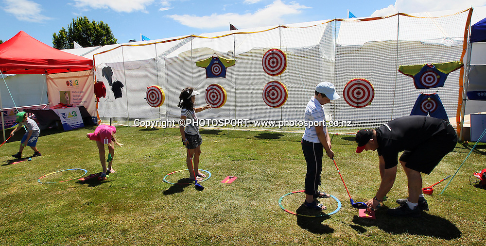 Kids zone. Final Day of the BMW New Zealand Golf Open 1-4 December, PGA Tour of Australisia, Clearwater Golf Club, Christchurch, Sunday 4 December 2011. Photo : Joseph Johnson / photosport.co.nz