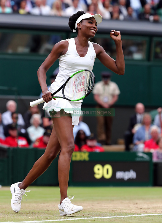 Venus Williams celebrates beating Jelena Ostapenko on day eight of the Wimbledon Championships at The All England Lawn Tennis and Croquet Club, Wimbledon.