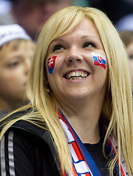 Fans of Slovakia during ice-hockey match between Germany and Finland of Group E in Qualifying Round of IIHF 2011 World Championship Slovakia, on May 6, 2011 in Orange Arena, Bratislava, Slovakia. (Photo By Vid Ponikvar / Sportida.com)