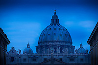 Early morning at St. Peter's Basilica in Vatican City.