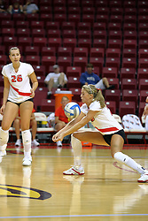 18 AUG 2007: Mallory Leggett digs one out. The Illinois State Redbirds, picked for 5th in the pre-season Missouri Valley Conference coaches poll, prepare for the beginning of the season during the annual Red/White inter-squad scrimmage at Redbird Arena in Normal Illinois.