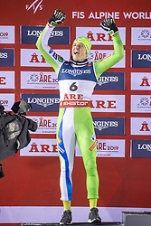 11.02.2019, Aare, SWE, FIS Weltmeisterschaften Ski Alpin, alpine Kombination, Herren, Siegerpräsentation, im Bild Silbermedaillengewinner Stefan Hadalin (SLO) // Silver medalist Stefan Hadalin of Slovenia during the winner presentation of the men's alpine combination for the FIS Ski World Championships 2019. Aare, Sweden on 2019/02/11. EXPA Pictures © 2019, PhotoCredit: EXPA/ Johann Groder