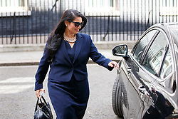 © Licensed to London News Pictures. 18/04/2017. London, UK. International Development Secretary PRITI PATEL leaves Downing Street after Prime Minister Theresa May called for an early election on 18 April 2017.  Photo credit: Tolga Akmen/LNP