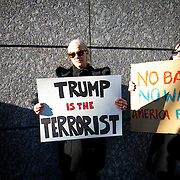 TOKYO, JAPAN - JANUARY 31 : Foreign residents of Tokyo gather to protest against U.S President Donald Trump's immigration ban and security agendas near US embassy of Tokyo, Japan on January 31, 2017. U.S. President Trump issued a executive order banning seven Muslim nations, Iraq, Syria, Iran, Sudan, Libya, Somalia or Yemen from entering the United States. Several travelers with visas to the United States were detained at JFK airport the past few days. (Photo by Richard Atrero de Guzman/NUR Photo)