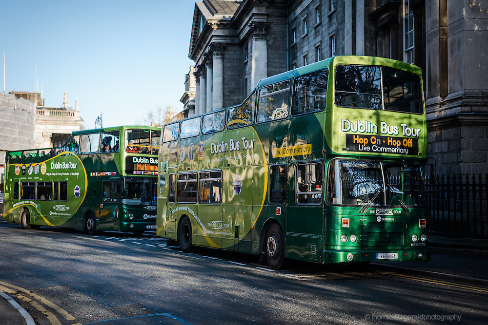 Dublin Tour Busses at Trinity College in Dublin City