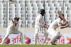 August 29, 2017 - Mirpur, Dhaka, Bangladesh - Australia's David Warner plays a shot as Bangladesh's fielder Soumya Sarkar missed the chance to out during day three of the First Test match between Bangladesh and Australia at Shere Bangla National Stadium on August 29, 2017 in Mirpur, Bangladesh. (Credit Image: © Ahmed Salahuddin/NurPhoto via ZUMA Press)