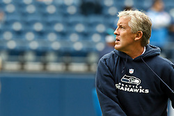 September 26, 2010; Seattle, WA, USA;  Seattle Seahawks head coach Pete Carroll during warm ups before the game against the San Diego Chargers at Qwest Field. Seattle defeated San Diego 27-20.