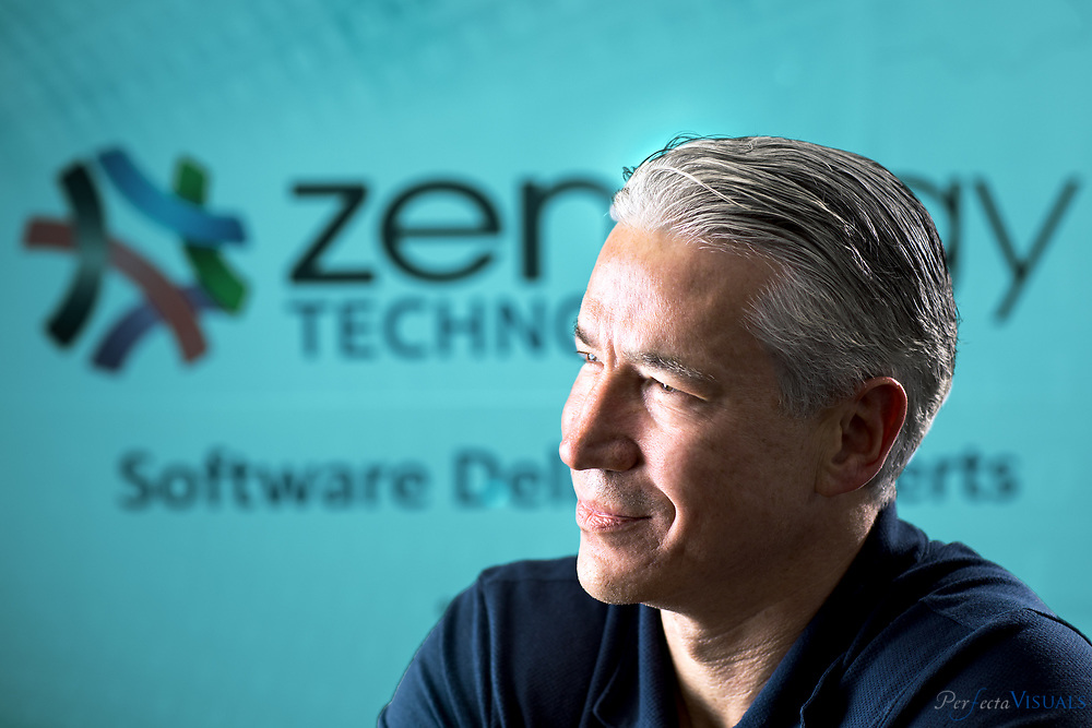 Zenergy president and CEO Chris Laney has over twenty years experience in the IT industry with a heavy focus on software quality assurance.<br /> <br /> Photographed, Friday, March 23, 2018, in Greensboro, N.C. JERRY WOLFORD and SCOTT MUTHERSBAUGH / Perfecta Visuals