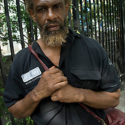 Patrick one of Atlantic City's  invisible homeless people with the thousand-yard stare in his eyes out side of AC Rescue Mission with his bags.<br /> <br /> release 2584
