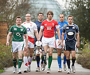 Putney, London, Six nations Captains' walk down to the photo call - left to right,  Brian O'DRISCOLL, Steve BORTHWICK, Lionel NALLET, Ryan JONES, Sergio PARISSE and Mike BLAIR, , at the Six Nations Rugby Press Conference, Hurlingham Club, England, Wed. 28.01.2009 [Mandatory Credit Peter Spurrier Intersport Images