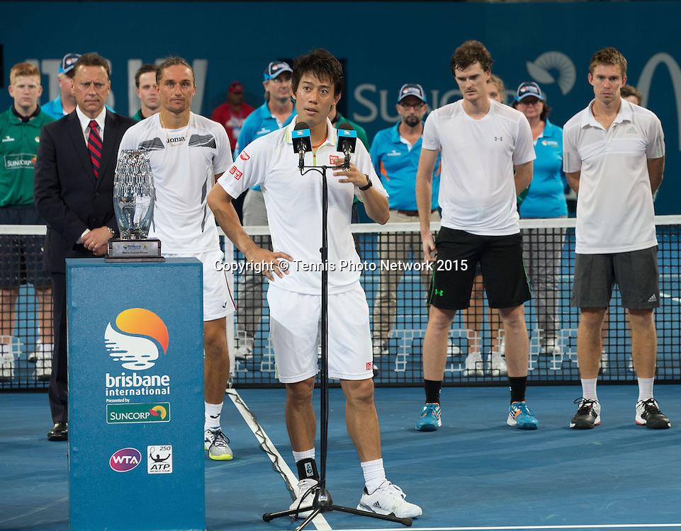 Trophy presentation with  Jamie Murray, John Peers, Alexandr Dolgopolov, Kei Nishikori<br /> <br />  - Brisbane International 2015 - ATP 250 - WTA -  Queensland Tennis Centre - Brisbane - Queensland - Australia  - 11 January 2015. <br /> &copy; Tennis Photo Network