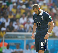 Karim Benzema of France looks down during the 2014 FIFA World Cup match between France and Germany at the Maracana Stadium, Rio de Janeiro<br /> Picture by Andrew Tobin/Focus Images Ltd +44 7710 761829<br /> 04/07/2014