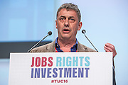 Chris Baugh speaking  at the TUC congress 2016, Brighton. UK.