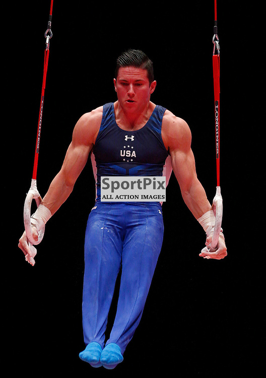 2015 Artistic Gymnastics World Championships being held in Glasgow from 23rd October to 1st November 2015.....Alexander Naddour (USA) competing in the Still Rings competition..(c) STEPHEN LAWSON | SportPix.org.uk