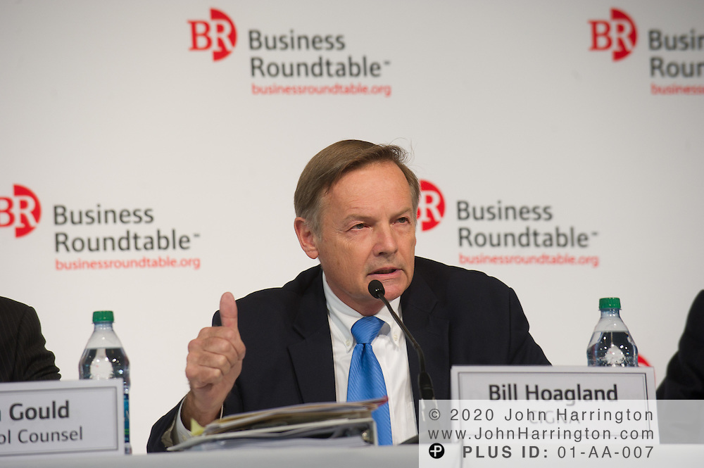 """Bill Hoagland, Vice President of Public Policy and Government Affairs at CIGNA speaks in a panel at the Business Roundtable """"Meeting the Challenges of Economic Growth and Deficit Reduction"""" discussion at the Newseum in Washington, DC on September 6th, 2011."""
