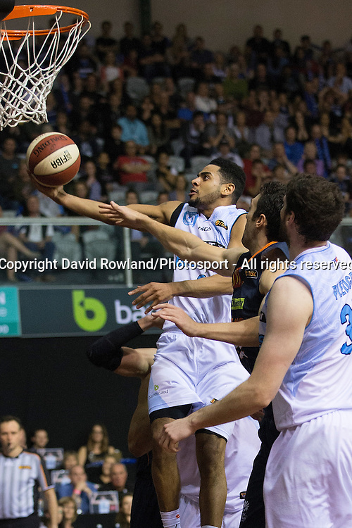 Breakers` Corey Webster scores in the SkyCity Breakers v Cairns Taipans, 2014/15 ANBL Basketball Season, North Shore Events Centre, Auckland, New Zealand, Thursday, October 23, 2014. Photo: David Rowland/Photosport