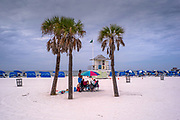 Clearwater, Florida, USA., Sunday, 15.09.19,  Clearwater Beach, Pier 60, Life Guard, Observation Tower, Post,   <br /> <br /> [Mandatory Credit; Pete SPURRIER]
