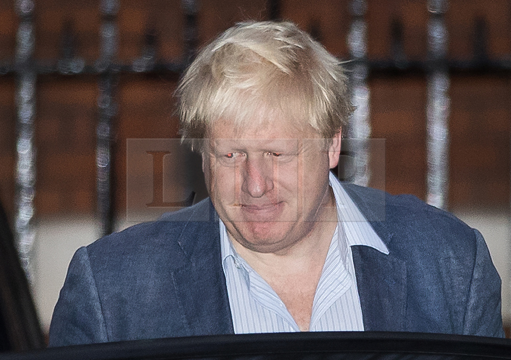 © Licensed to London News Pictures. 05/10/2017. London, UK. Foreign Secretary Boris Johnson leaves home the day after the Conservative Party conference ended. Prime Minister Theresa May's leadership has been called into question after a disastrous keynote speech on the final day of conference.   Photo credit: Peter Macdiarmid/LNP