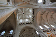 Looking up inside the lantern tower in the transept of Laon Cathedral or the Cathedrale Notre-Dame de Laon, built 12th and 13th centuries in Gothic style, in Laon, Aisne, Picardy, France. The cathedral is listed as a historic monument. Picture by Manuel Cohen