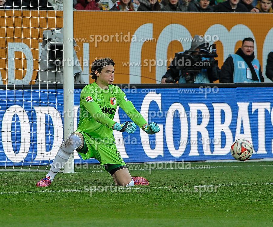 05.04.2015, SGL Arena, Augsburg, GER, 1. FBL, FC Augsburg vs Schalke 04, 27. Runde, im Bild Faustabwehr Torwart Marvin Hitz ( FC Augsburg ) 35 // during the German Bundesliga 27th round match between FC Augsburg and Schalke 04 at the SGL Arena in Augsburg, Germany on 2015/04/05. EXPA Pictures &copy; 2015, PhotoCredit: EXPA/ Eibner-Pressefoto/ Schreyer<br /> <br /> *****ATTENTION - OUT of GER*****