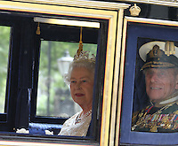Queen Elizabeth and Prince Philip London, UK, 25 May 2010: The State Opening of Parliament Royal Procession in Whitehall. For piQtured Sales contact: Ian@Piqtured.com +44(0)791 626 2580 (Picture by Richard Goldschmidt/Piqtured)