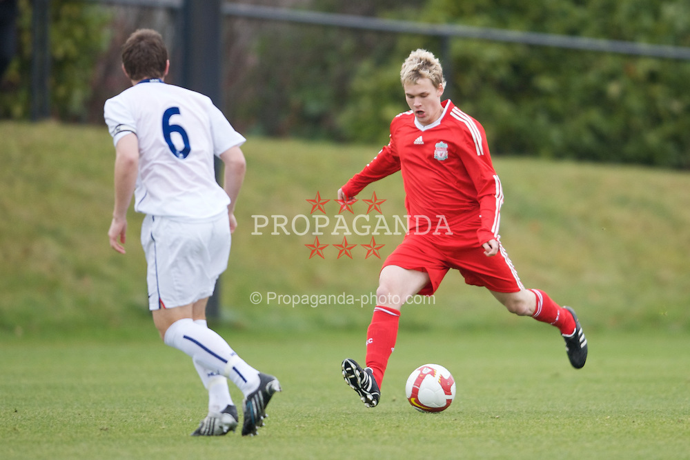 KIRKBY, ENGLAND - Saturday, December 13, 2008: Liverpool's Christopher Buchtmann in action against Manchester United during the FA Premier Academy Group A match at the Kirkby Academy. (Pic by David Rawcliffe/Propaganda)